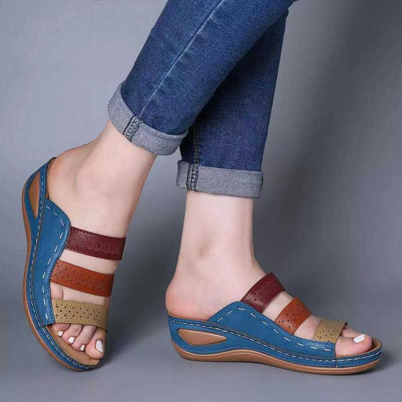 Giày Xăng Đan Nữ 2020 Thời Trang Giày Đế Xuồng Nữ Dép Mùa Hè Giày Gót Dép Nữ Đi Biển Giày Thường