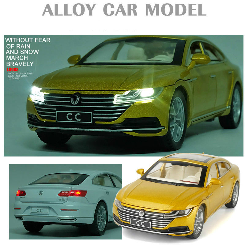 1:32 Volkswaggenn CC Sports Car Diecast Toy Pull Back Simulation Sound Musical Lighting Vehicles Model Metal