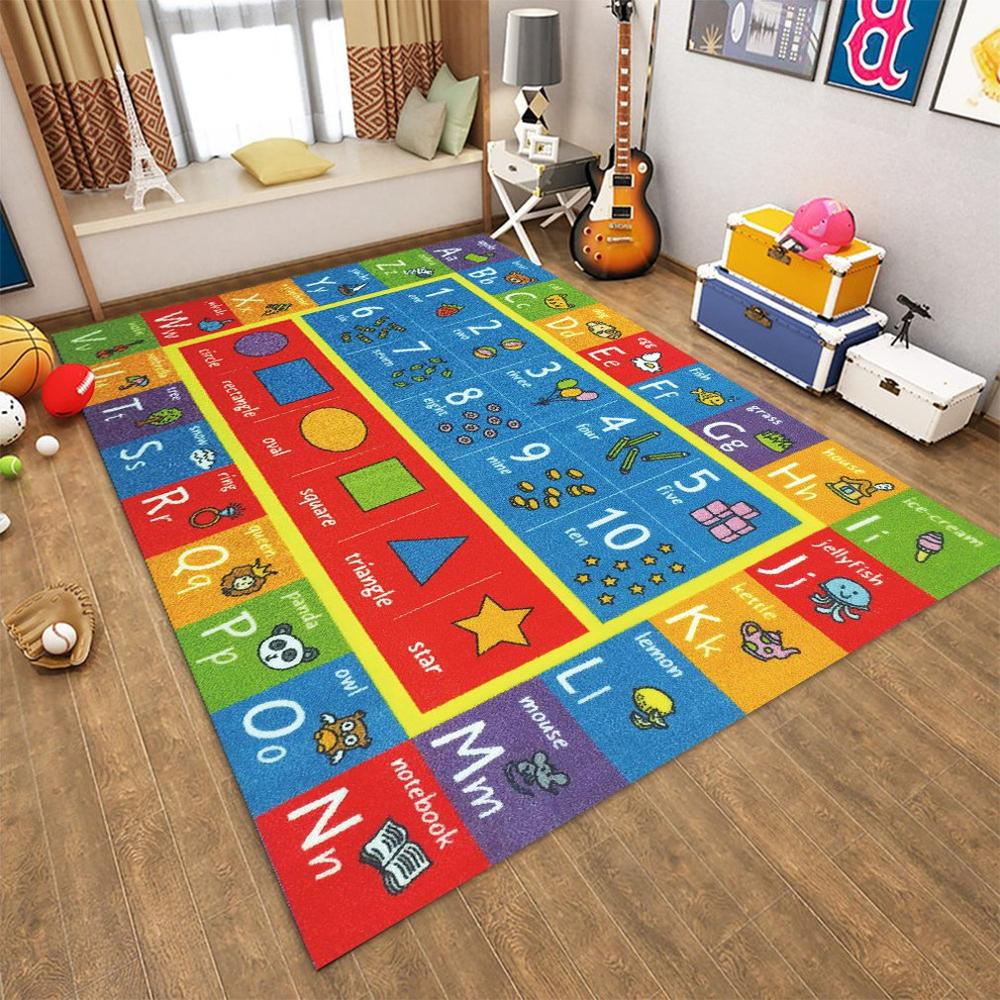 NEW Baby Plush Carpet Digital Graphic Letter Pattern Carpet Mat Anti-Skid Shatter-Resistant Game Crawling Mat