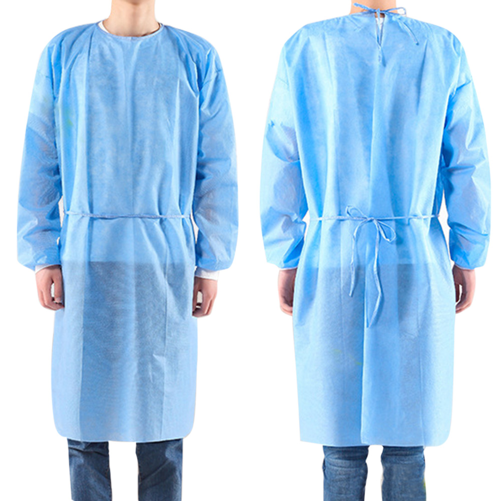 10pcs/set Disposable Isolation Clothes Non-woven Dust-proof Blue Security Protection Suit Surgical Suit Isolation Gown Blouse