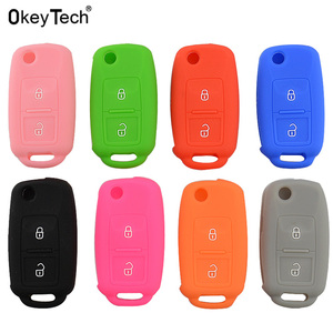 OkeyTech Silicone Cover for Volkswagen Golf Passat Polo MK4 Bora Altea Alhambra Touran Sharan Car Key Case 2 Buttons Key Shell(China)