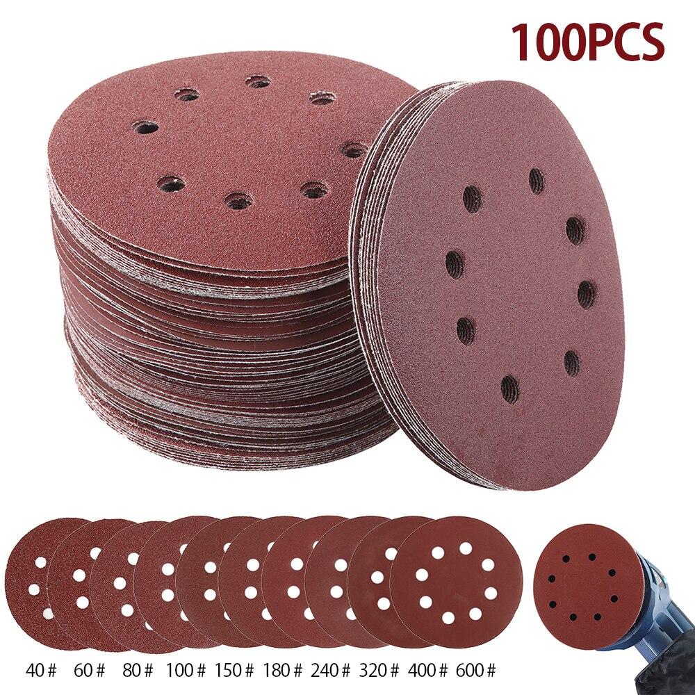 100pcs 5 Inch Hook Loop Sanding Paper With 8 Hole Sand Pads Set 40 Grit-600 Grit Sander Disc Abrasives For Polish Machine