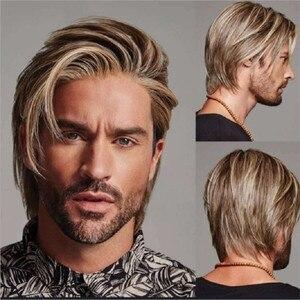 Мужской короткий парик коричневый парик для повседневного использования модный парик синтетический парик естественный вид