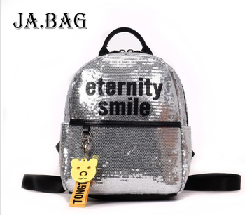 Sequins Leather PU Zipper Travel High Capacity Backpack,Retro 2020 Luxury Leisure Fashion School Bags Casual Bag For Teenager