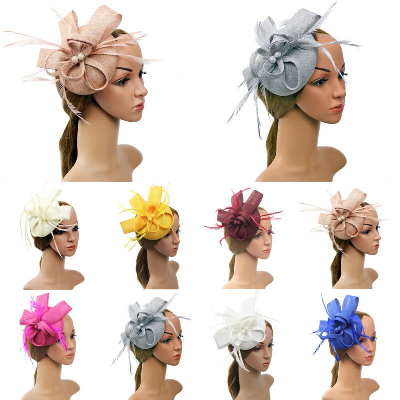 Женская Вуалетка с цветами и перьями, 1 шт., головной убор на свадьбу, вечеринку, сетчатый головной убор, элегантный мини-головной убор, закол...