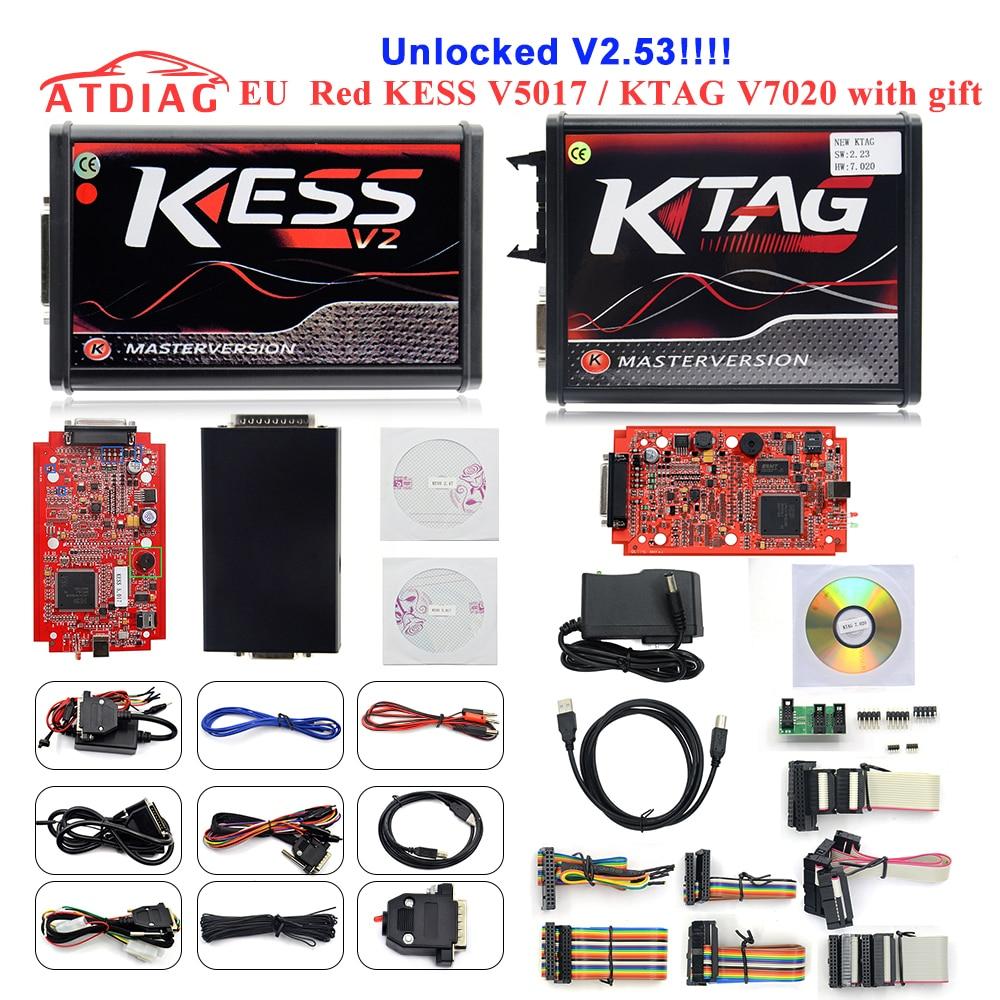 2020 kess v2.53 5.017 kess v5.017 v2 versão em linha novo 4led vermelho pcb ktag 7.020 sw2.23 v2.25 protocolos inteiramente nenhum token limitado