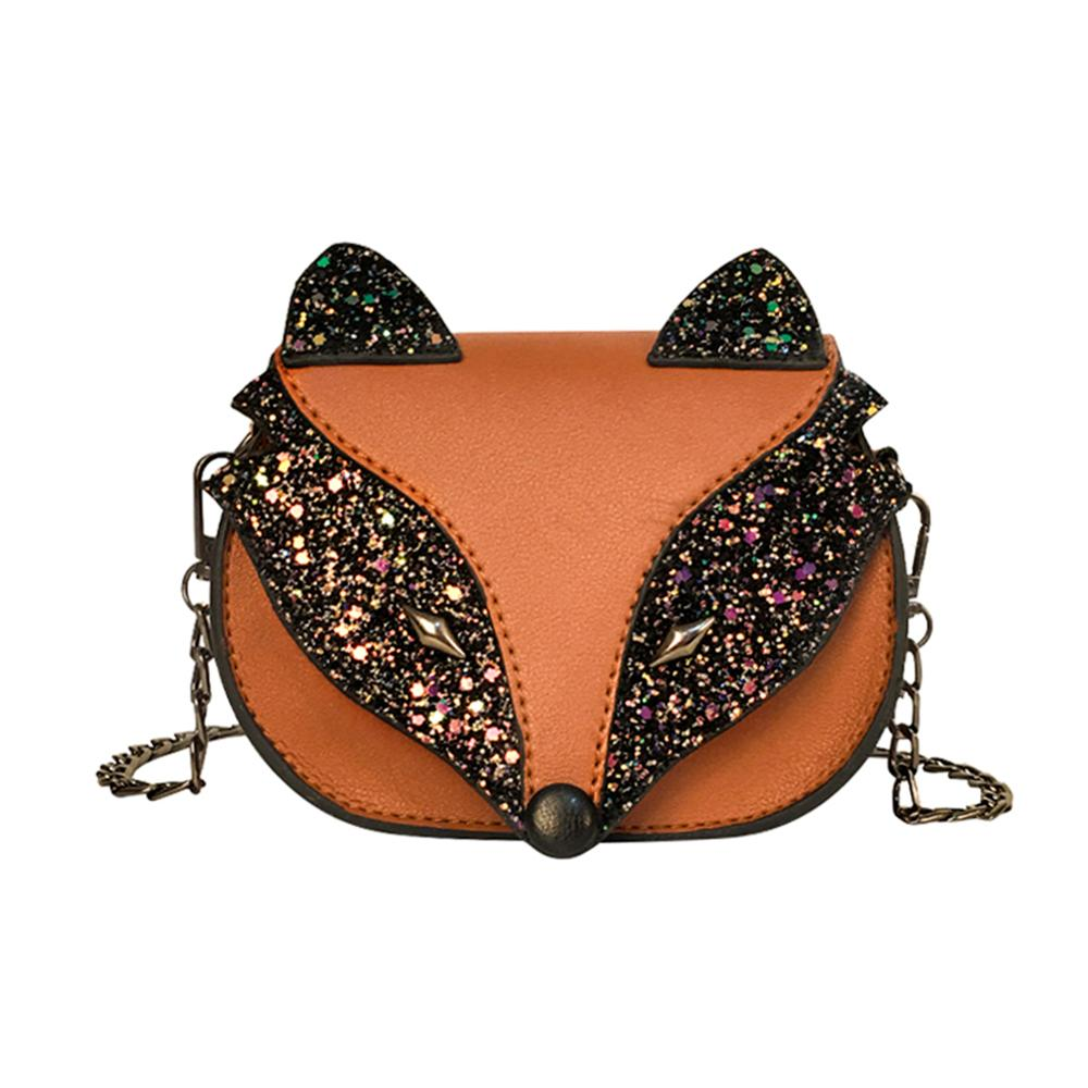 Hot Cute Sequins Fox Crossbody Messenger Bags Children Shoulder Baby Girls Satchel Purse Crossbody Handbags Bolsa Feminina