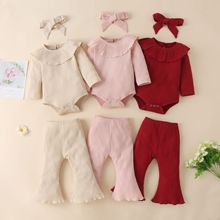 Baby Girls Set Fashion 3PCS Infant Clothing Outfits Knitted Ruffle Bodysuits Flare Pants Headband Autumn Solid Baby Clothes Set