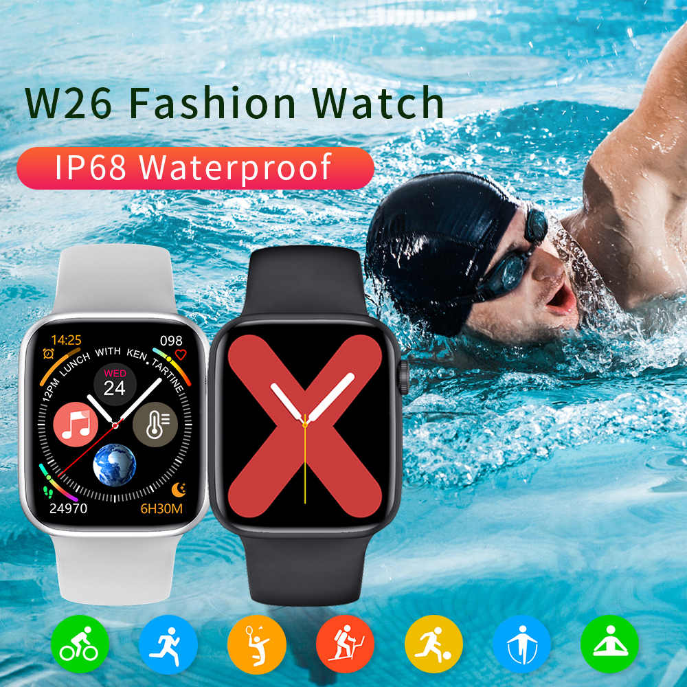 lowest price Zurexa Iwo W26 Smart Watch Men Women 44mm 1 75inch Full Touch Screen Sport IP68 SmartWatch With Pedometer For Ios Android 2020