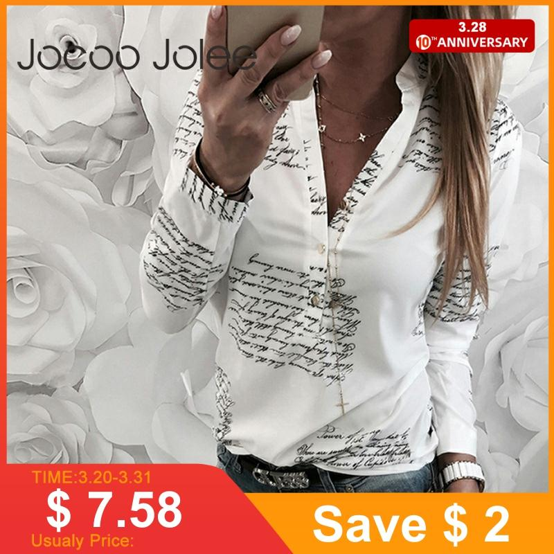 Jocoo Jolee Women Fashion V Neck Long Sleeve Sexy Beach Blouse Shirts Casual Letters Printed Tops Slim Fit Shirts Plus Size