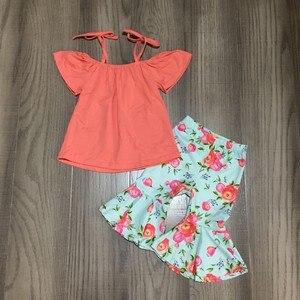 Image 1 - Nowości letnie dziewczynek koral kwiatowy kwiat wiązana bluzka mleko jedwabny wzór ubrania dla dzieci zielony butik capris