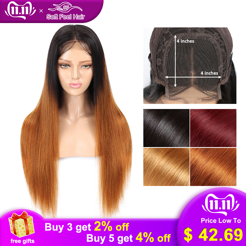 Soft Feel Hair 4x4 Closure Wig Ombre Human Hair Wigs For Black Women Lace Closure Wig Remy Brazilian Straight Wig Middle Ratio