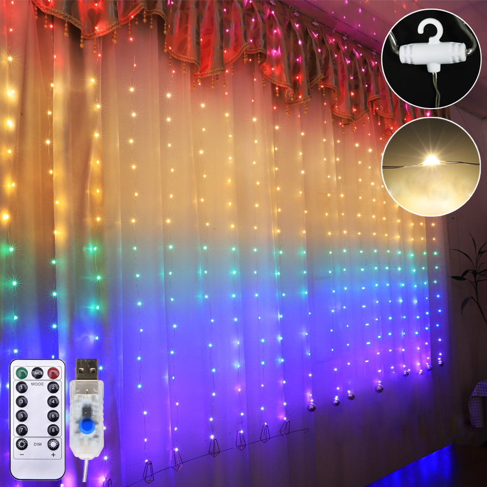 New USB Eight Function With Remote Control Curtain Light LED Copper String Lights Christmas Garlands Fairy Light Wedding Decorat