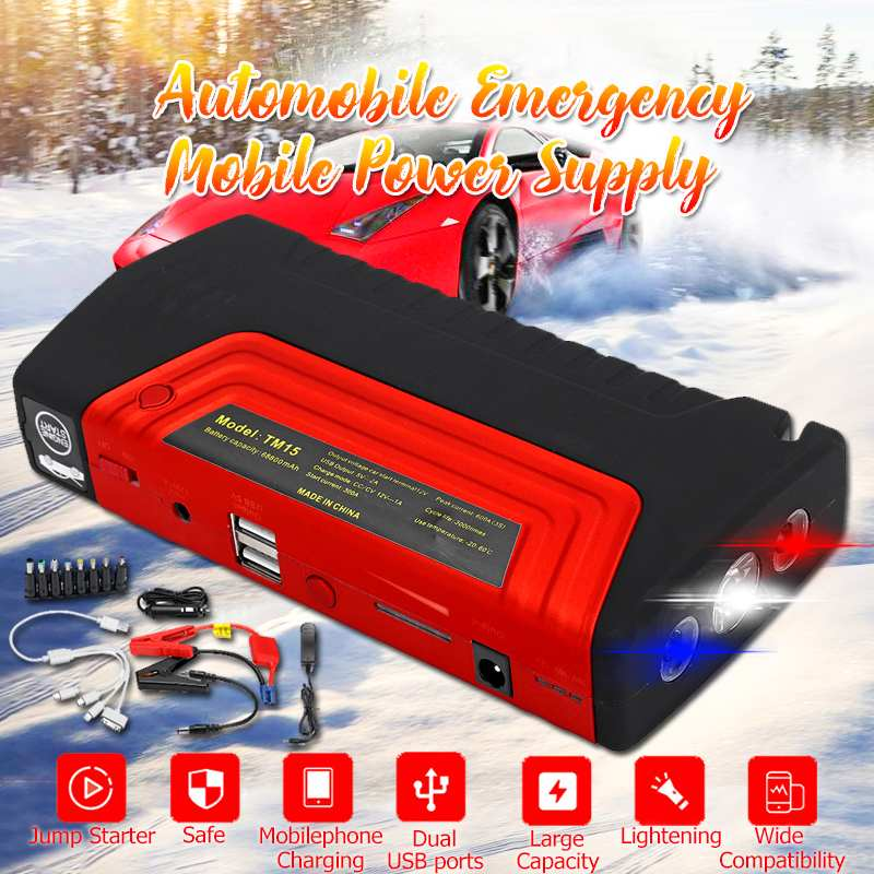 68800mAh Car Jump Starter Power Bank 600A Car Battery Booster Charger 12V Starting Device Petrol Diesel Car Starter Buster