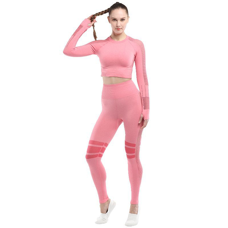 Yoga Sets Women Gym Clothes Tummy Control Leggings Sexy Breathable Mesh Knitted Crop Tops Gym Set 2 Piece Athletic Wear