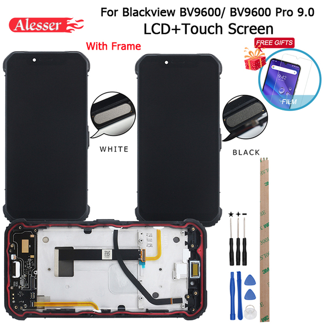 Alesser ため blackview BV9600 プロ 9.0 lcd ディスプレイ + タッチスクリーン + フレーム + フィルム + 指紋センサーボタン + ツール