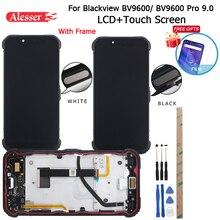 Alesser display lcd para blackview bv9600, com painel de toque, moldura, filme e botão do sensor de impressão digital, 9.0 ferramentas,