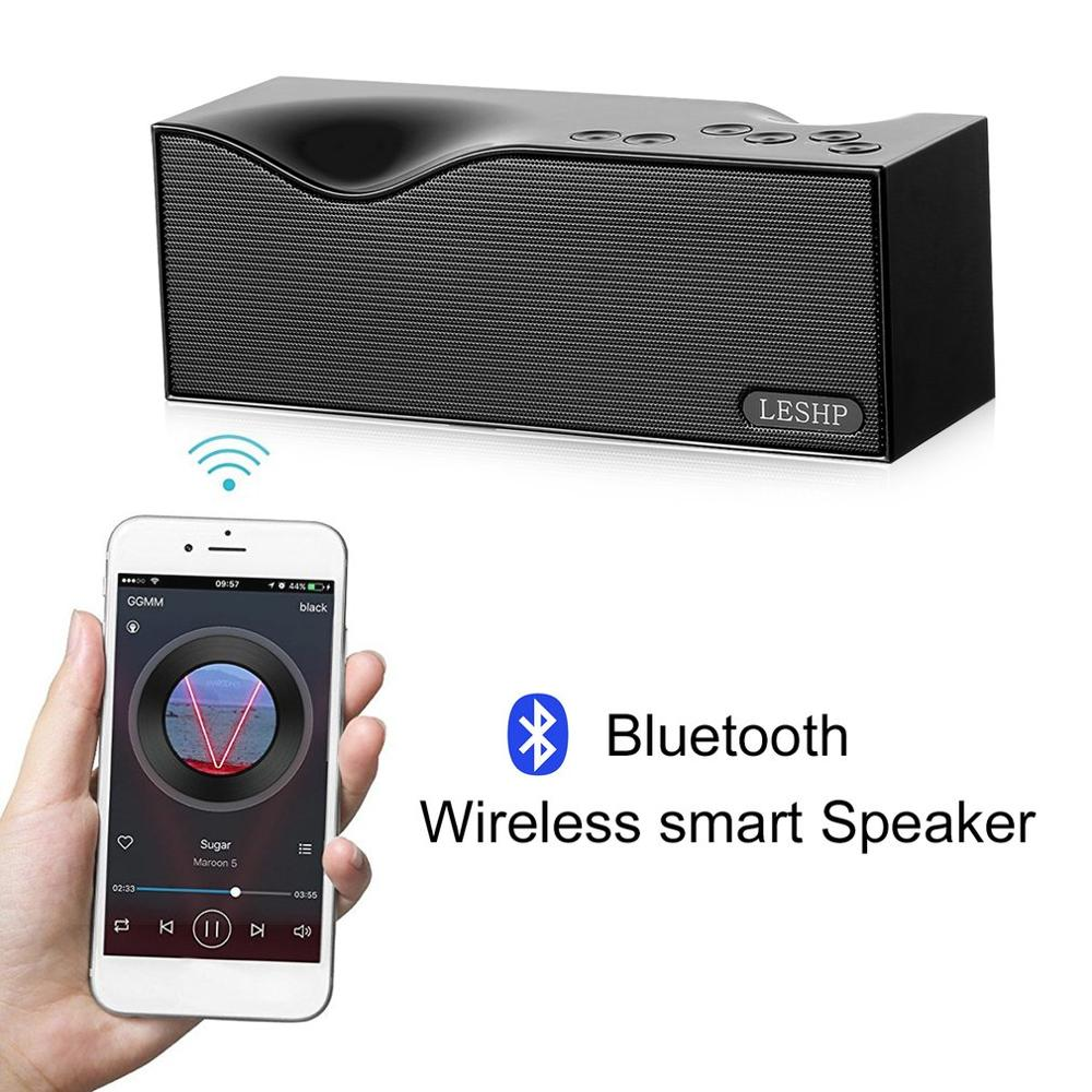 LESHP <font><b>bluetooth</b></font> <font><b>speaker</b></font> Alarm Clock <font><b>Speaker</b></font> LED Display Removable Lithium Battery Cordless Portable Support Variety Music Format image