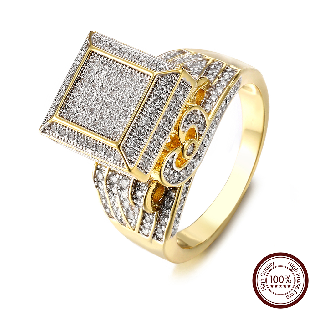 High Quality Hip Hop jewelry rings For Men Iced Out Bling Bling Rings AAA+ Cubic Zirconia couple rings Fine Gift