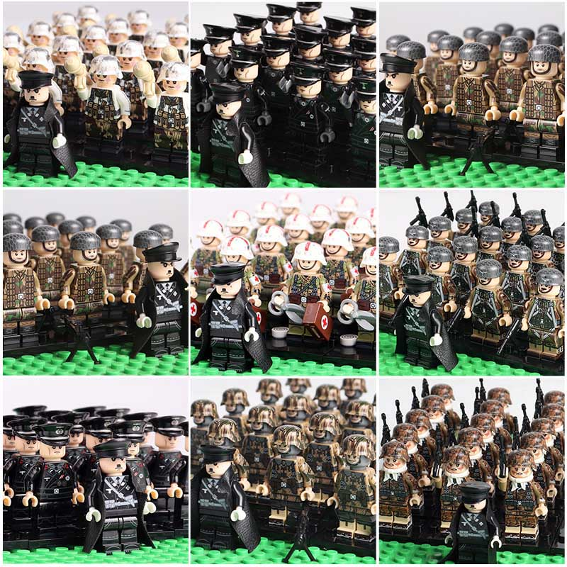 Oenux New WW2 Mini German Soldiers Figures Military Building Block Classic Military Army Soldiers Legoingly Brick Toy For Kids