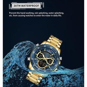 NAVIFORCE Mens Military Sports Waterproof Watches Luxury Analog Quartz Digital Wrist Watch for Men Bright Backlight Gold Watches 4