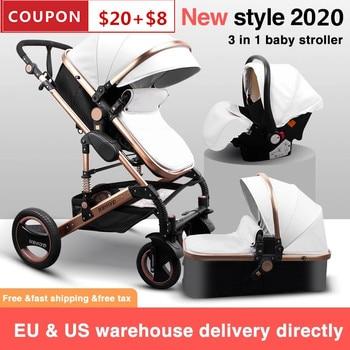 3 in 1 Baby Stroller High Landscape Baby Stroller Sleeping Basket Carriage Europe 2 in 1 Newborn Pram With Car Seat Free Ship