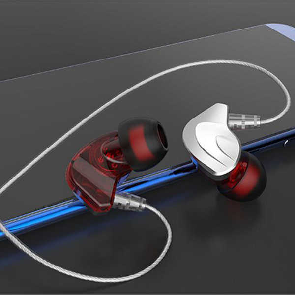 Caliente AMS-auriculares en la oreja doble bobina móvil auriculares 3,5mm audio jack plug HiFi estéreo manos libres