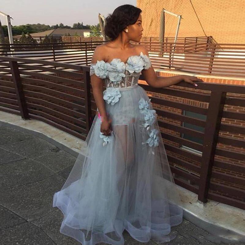Robe De Soiree Elegant Prom Dresses 2020 Off Shoulder A-Line 3D Flower Long Evening Gowns Plus Size Women Formal Party Dresses