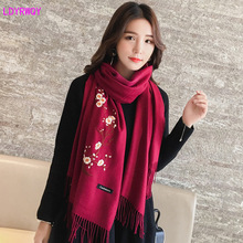2019 autumn and winter fashion new imitation cashmere versatile embroidery solid color national wind scarf female