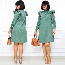MD automne à manches longues chemise robe de mode col haut bureau dame chemise robe femmes élégant solide plissé fête vêtements tenues