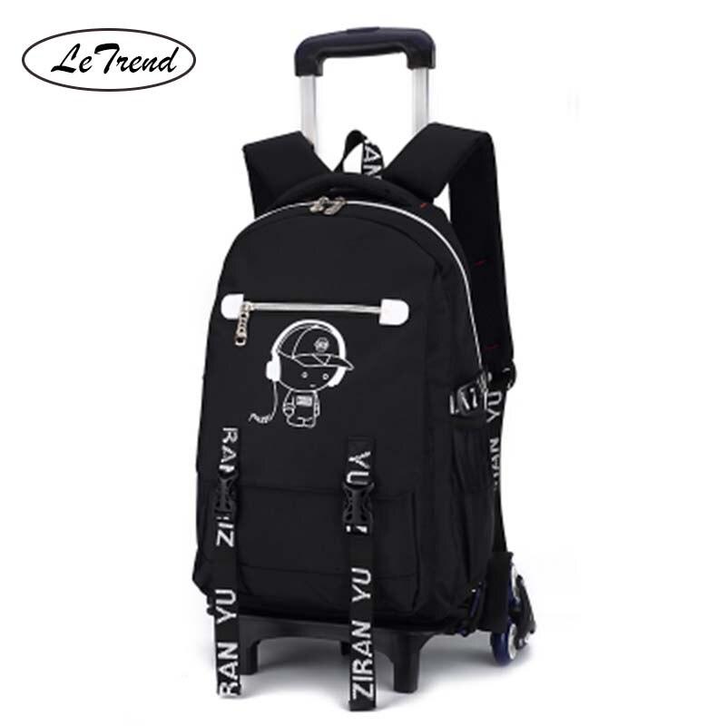 LeTrend Multifunction Student Shoulder Trolley Travel Bags Detachable Children Cute Cartoon Cabin Backpack
