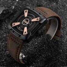 KADEMAN أفضل العلامة التجارية الفاخرة الرجال الساعات مقاوم للماء الرياضة مربع حزام من الجلد ساعة كوارتز عادية ساعة اليد الذكور Relogio Masculino