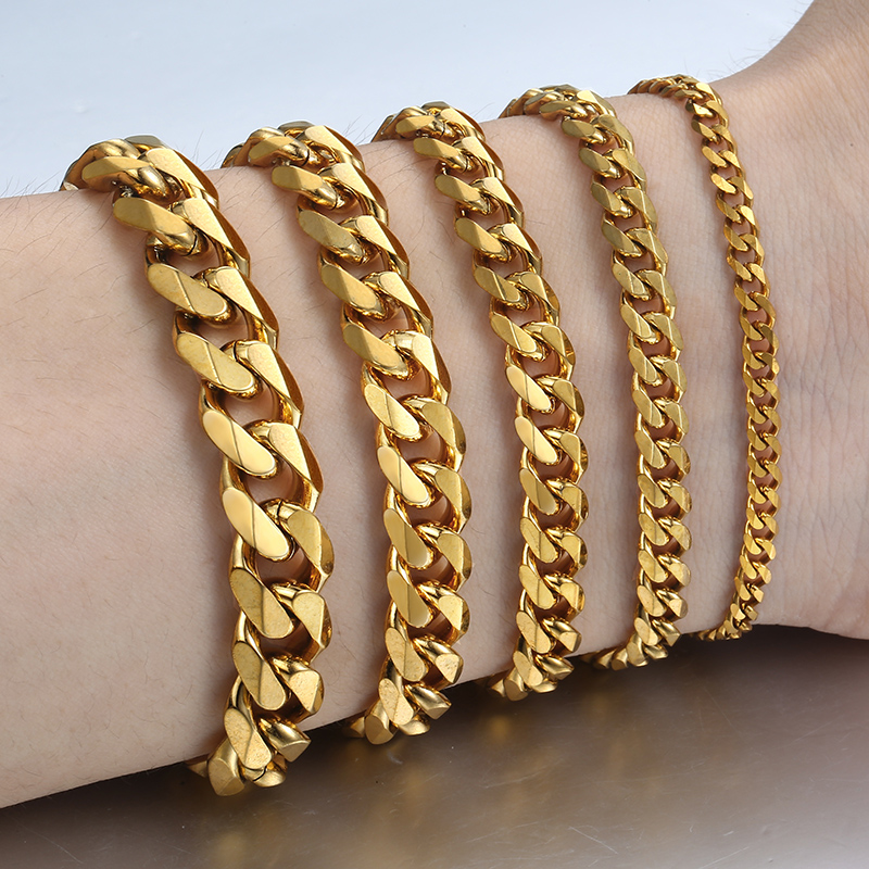 Women's Men's Bracelet Stainless Steel Cuban link Chain Bracelets Gold Silver Color Fashion Wholesale Jewelry KBB10
