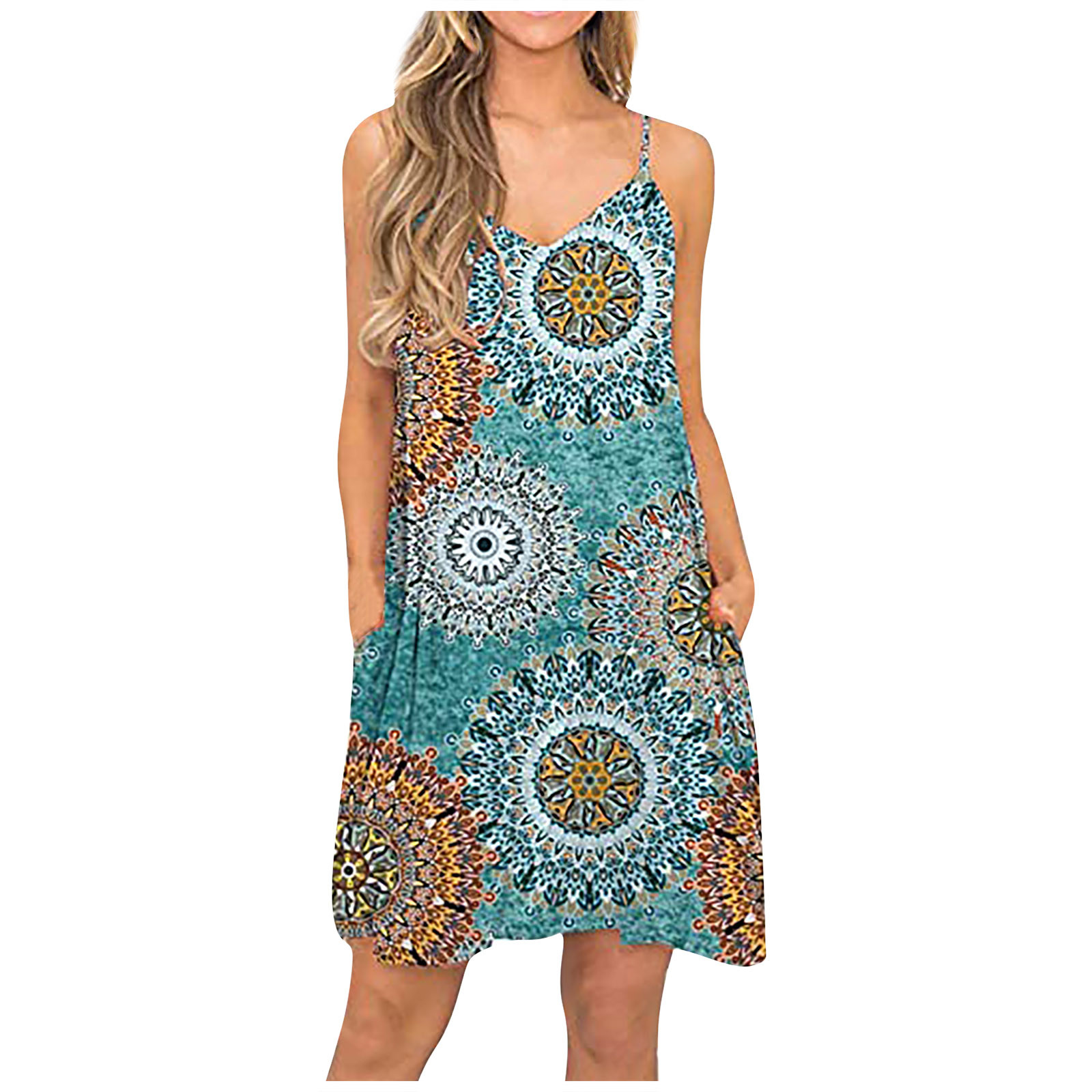 Women Summer Casual Fashion Beach Cover Up Plain Pleated Tank Slip Dress Vestido De Mujer