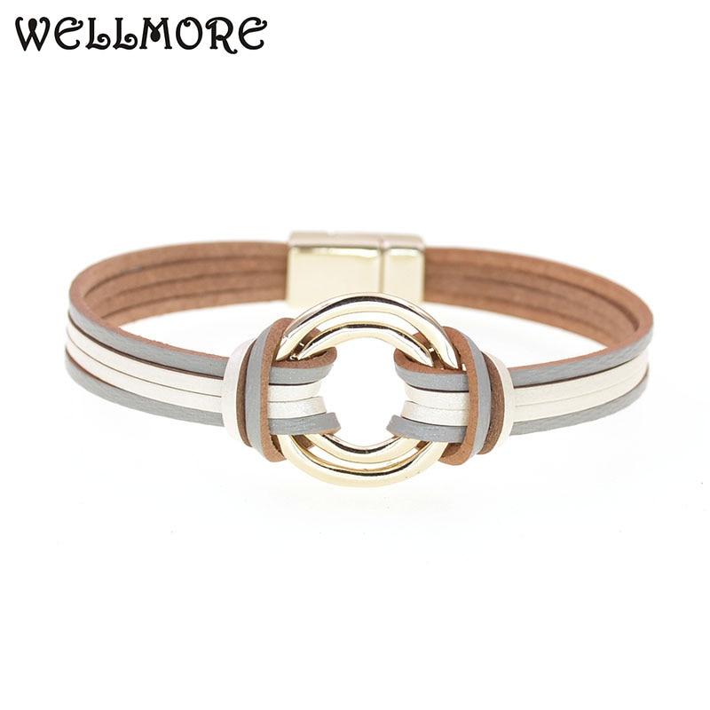 WELLMORE charm Leather Bracelets For Women & Men Multiple Layers wrap Bracelets Couple gifts fashion Jewelry wholesale