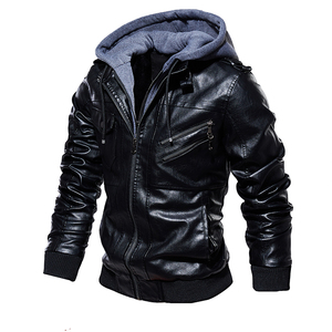 Image 2 - גברים של עור מפוצל מעיל גברים אופנוע הוד חורף מעיל גבר חם מקרית עור מעילי זכר Slim Fit מחבל מעיל רוח