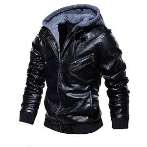 Image 2 - Męskie ze skóry PU kurtka mężczyźni motocykl kaptur płaszcz zimowy człowiek ciepłe skórzane kurtki męskie Slim Fit Bomber wiatrówka