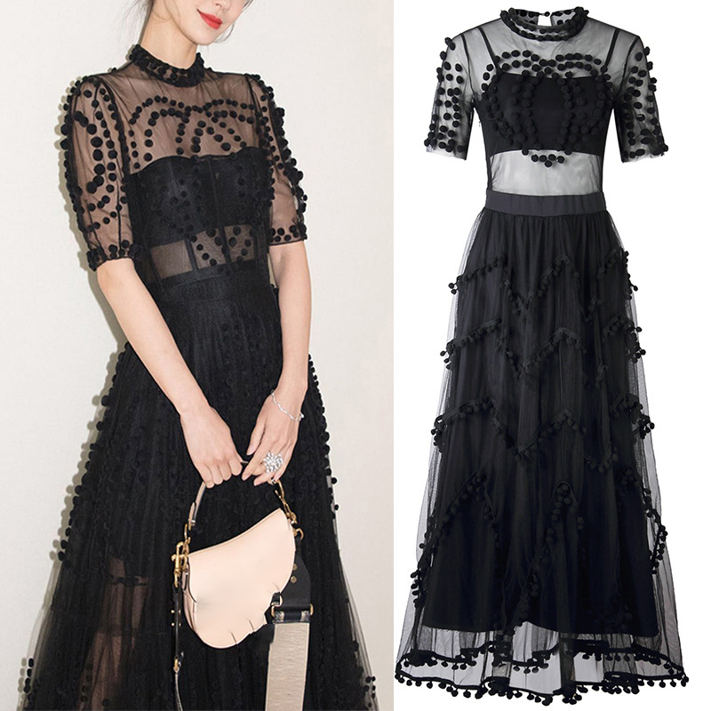 Runway Women Mesh Ball Gown Party Long <font><b>Dress</b></font> Summer <font><b>Sexy</b></font> Black Ball Short Sleeve <font><b>Boho</b></font> <font><b>Beach</b></font> <font><b>Dress</b></font> <font><b>Elegant</b></font> Designer 2020 A454 image
