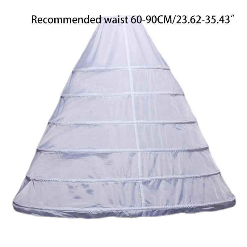 Frauen Voller Länge Weiß Krinoline Petticoat A-Line 6 Hoops Rock Rutscht Lange Unterrock für Hochzeit Braut Kleid Ballkleid