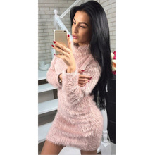 Women Sweater Dress Furry Turtleneck High Collar Autumn Winter Long Sleeve Solid Clothes  Sexy Bodycon Warm