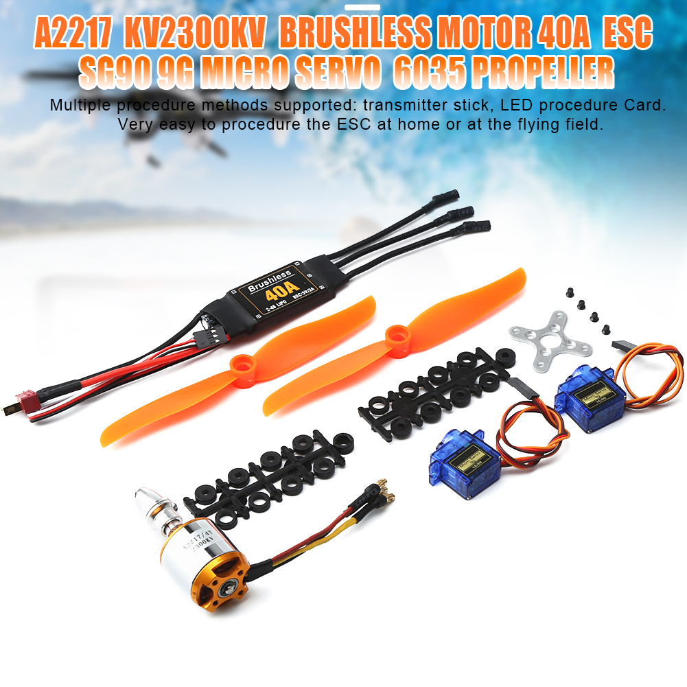 Hot Selling A2217 KV2300 Brushless Motor 40A ESC SG90 9G Micro Servo <font><b>6035</b></font> <font><b>Propellers</b></font> for RC Fixed Wing Plane Helicopter image