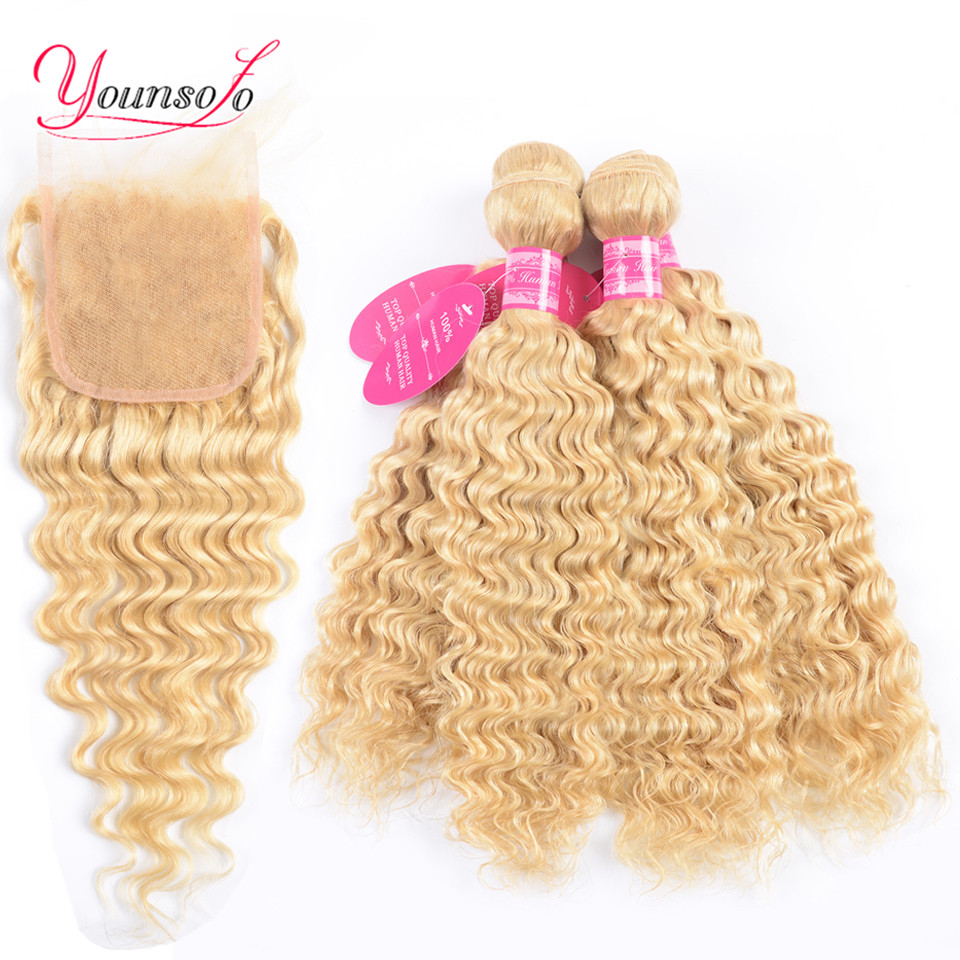 Younsolo 613 Blonde Bundles With Closure Brazilian Deep Wave Bundles With Closure Remy 100% Human Hair Bundles With Closure image