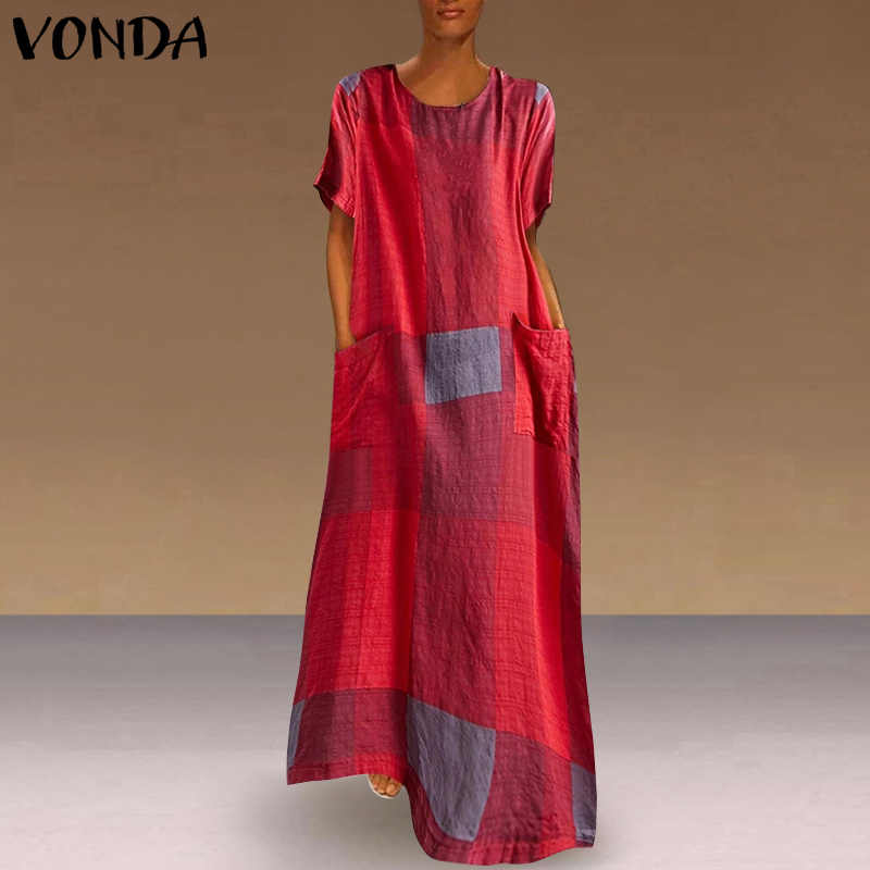 Bohemian Vesten Vrouwen Vintage Patchwork Plaid Maxi Jurk Holiday Beach Dress Vonda 2020 Casual Losse Zomer Zonnejurk Plus Size