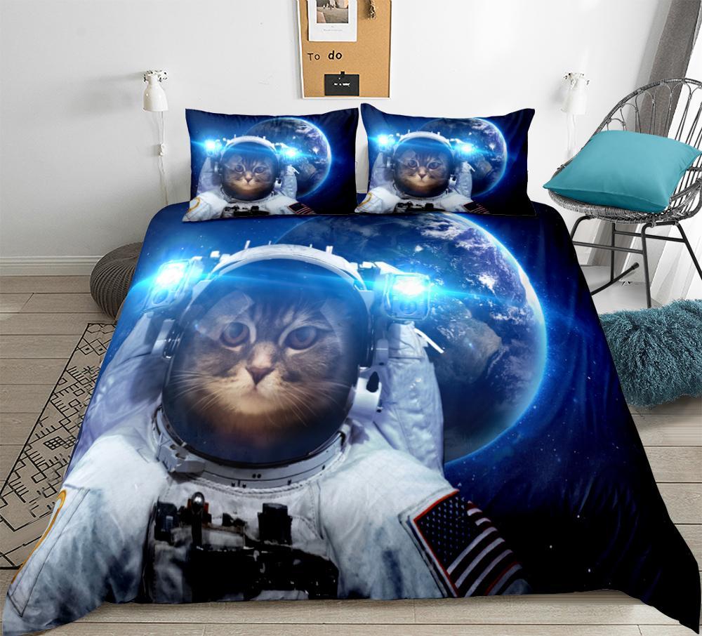 Space Cat Bedding Astronaut Pet Duvet Cover Set Teens Kids Blue Galaxy Bedding Set Star Universe Quilt Cover King 3pcs Dropship