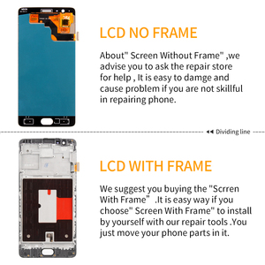 5.5'' Original AMOLED Display For Oneplus 3T LCD Display Touch Screen with Frame for OnePlus 3 T 3T A3000 Display Replacement