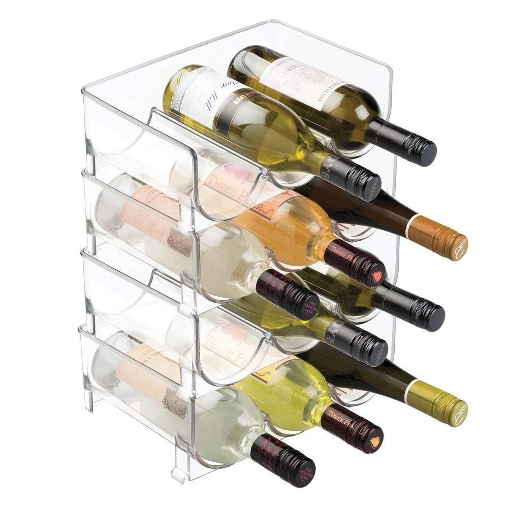 casier a vin transparent de 4 pieces porte bouteille a vin universel support de rangement pour refrigerateur organisateur de comptoirs decoration