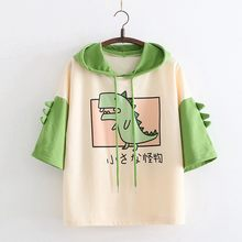 Dinosaur T Shirt Women Hoodies Summer Pullovers Tops With Horns Harajuku Hooded Girls Teens Cute Kawaii Hooded Tshirt 2020 New(China)