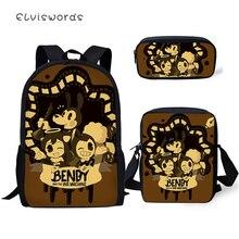 ELVISWORDS 3PC Set Kids Backpack Bendy and the Ink Machine Pattern School Book Bags Cartoon Students Backpack/Flaps Bag/Pen
