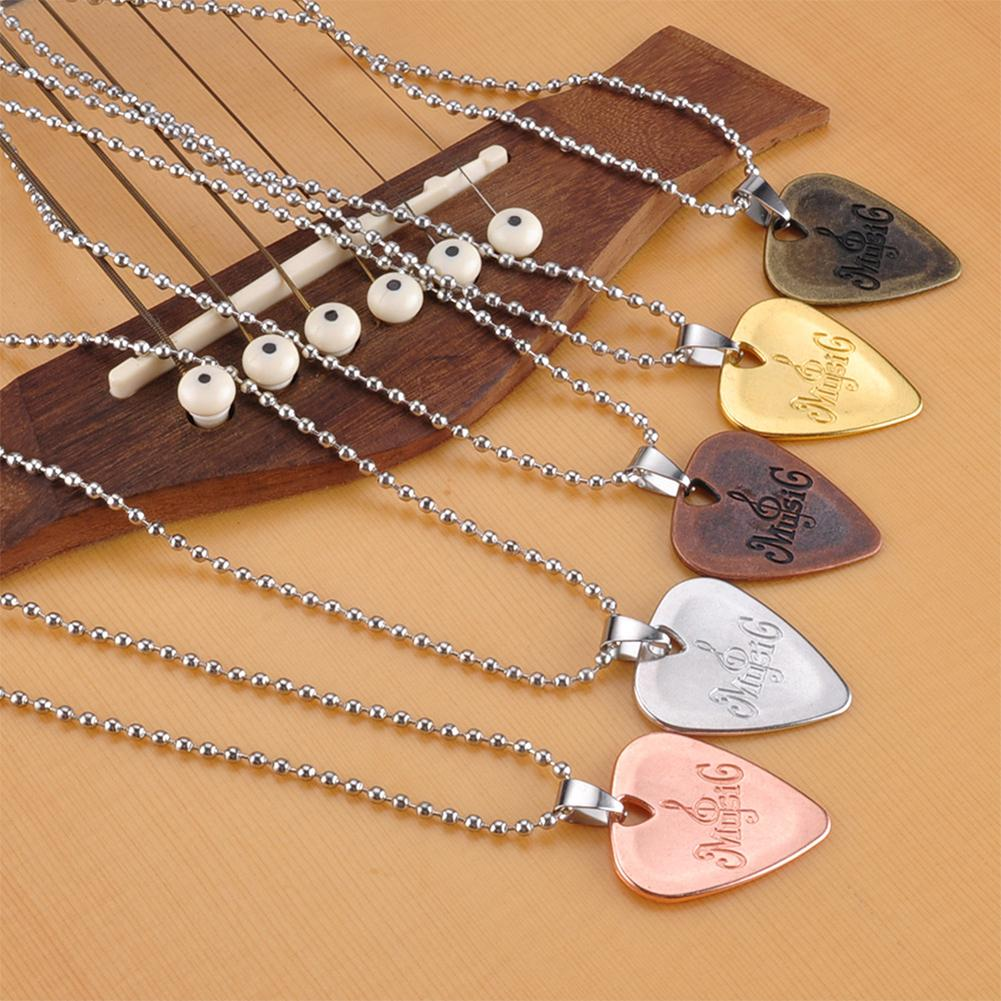 1pc Metal Acoustic Electric Guitar Bass Necklace Pick Durable Stainless Steel Thin Mediator Pick With Chain For Guitarra