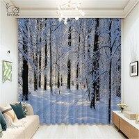 الشتاء الستائر زقاق في الثلوج الغابات الباردة تجميد الطقس طبيعة غرفة المعيشة غرفة نوم نافذة الستار رقيقة جدا مايكرو التظليل